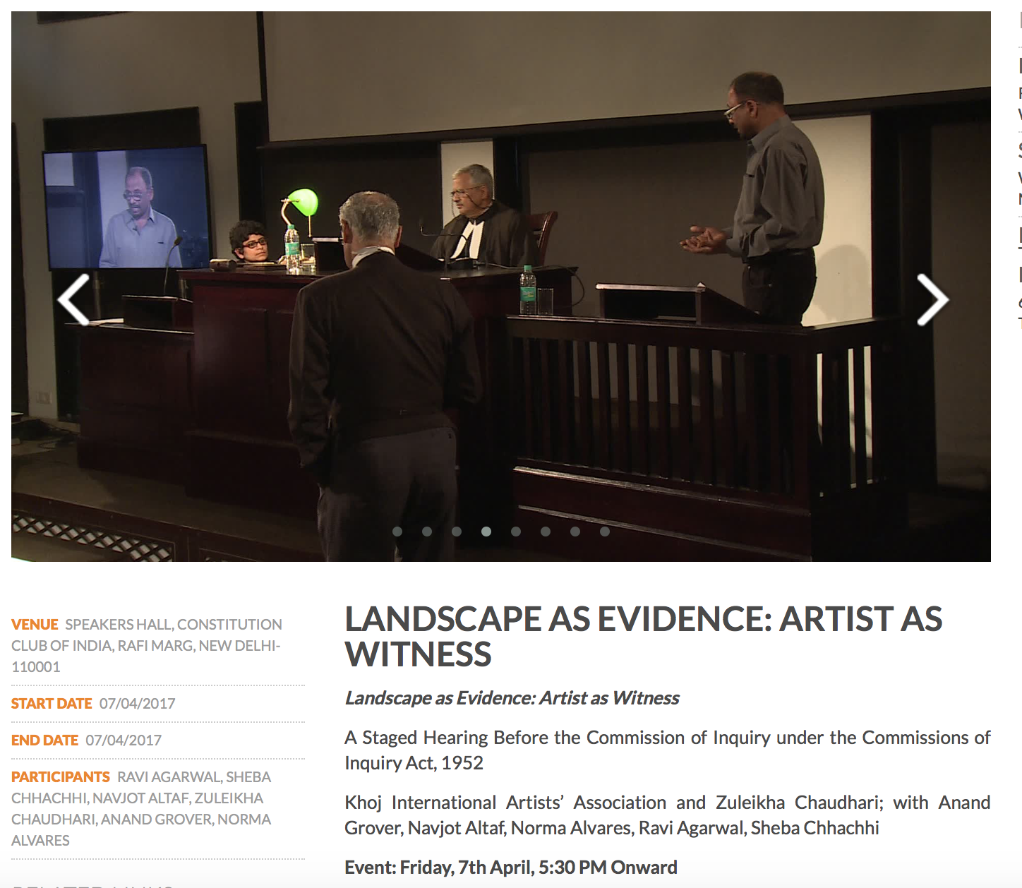 Landscape as Evidence: Artist as Witness , (Collaboration work as detailed )2017