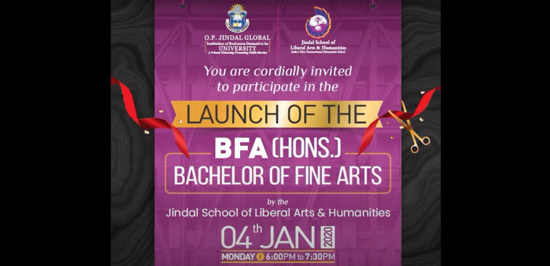 Launch of Jindal School of Liberal Arts & Humanities Bachelor of Fine Arts (BFA) Hons. Programme